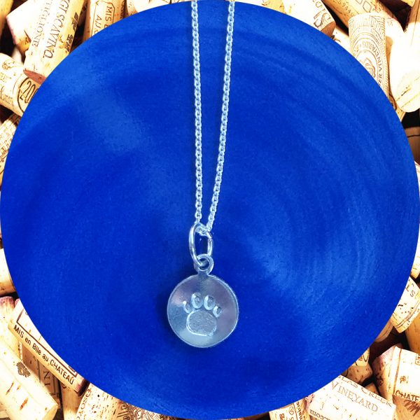 Small Round Paw Print Aluminum Pendant Necklace by Kimi Designs