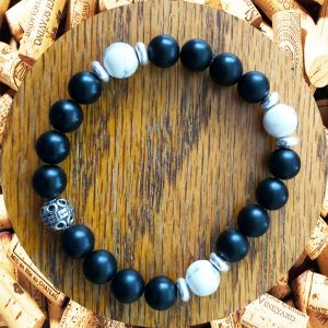 Black Onyx with Howlite Accents Bracelet