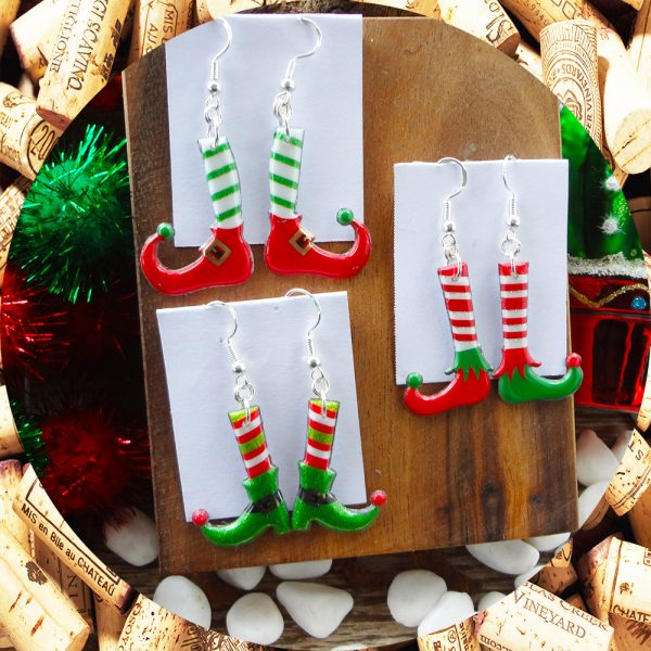 Christmas Elf Stocking Earrings in three options by Kimi Designs