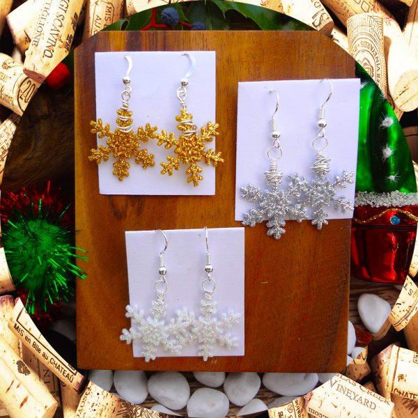Christmas Snowflake Earrings in three options by Kimi Designs