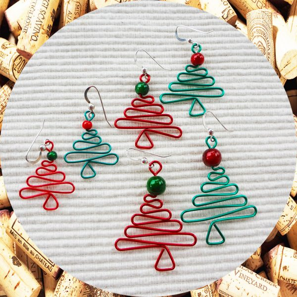 Christmas Tree Earrings in Red and Green in three sizes by Kimi Designs