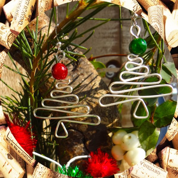 Christmas Tree Earrings with Red and Green Beads by Kimi Designs