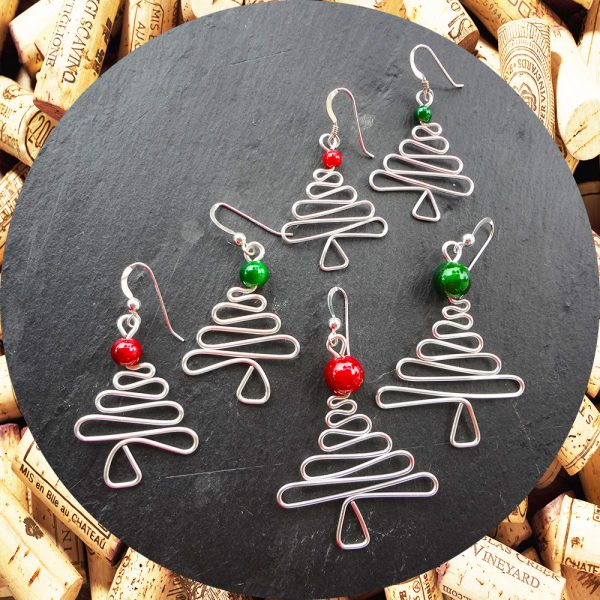 Christmas Tree Earrings with Red and Green Beads in three sizes by Kimi Designs