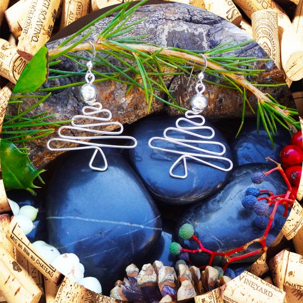 Christmas Tree Earrings with Silver Beads by Kimi Designs