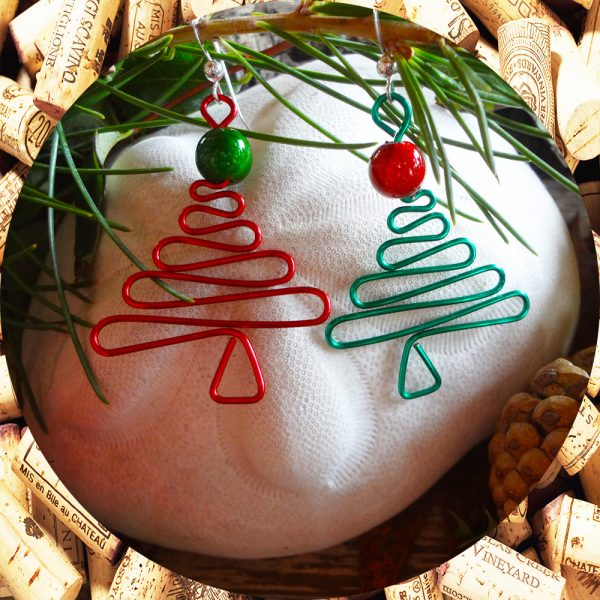 Handcrafted Christmas Tree Earrings in Red and Green by Kimi Designs