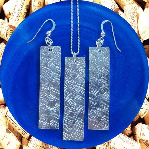 Large Rectangular Square Swirl Aluminum Earrings and Pendant Set by Kimi Designs