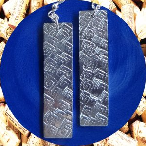 Large Rectangular Square Swirl Aluminum Earrings by Kimi Designs