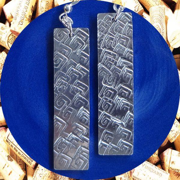Large Rectangular Square Swirl Aluminum Earrings by Kimi Designs