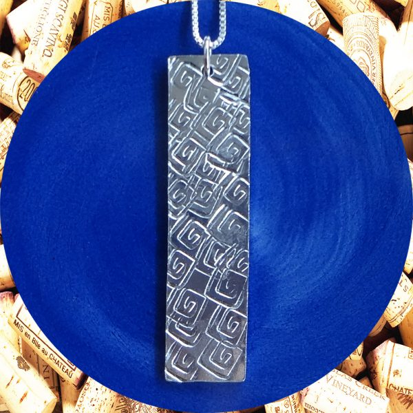 Large Rectangular Square Swirl Aluminum Pendant Necklace by Kimi Designs