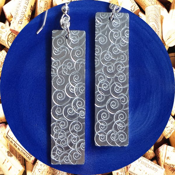 Large Rectangular Swirl Aluminum Earrings by Kimi Designs