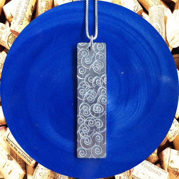 Large Rectangular Swirl Aluminum Pendant Necklace by Kimi Designs