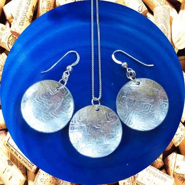 Large Round Square Swirl Aluminum Earrings and Pendant Set by Kimi Designs