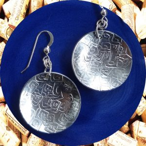 Large Round Square Swirl Aluminum Earrings by Kimi Designs