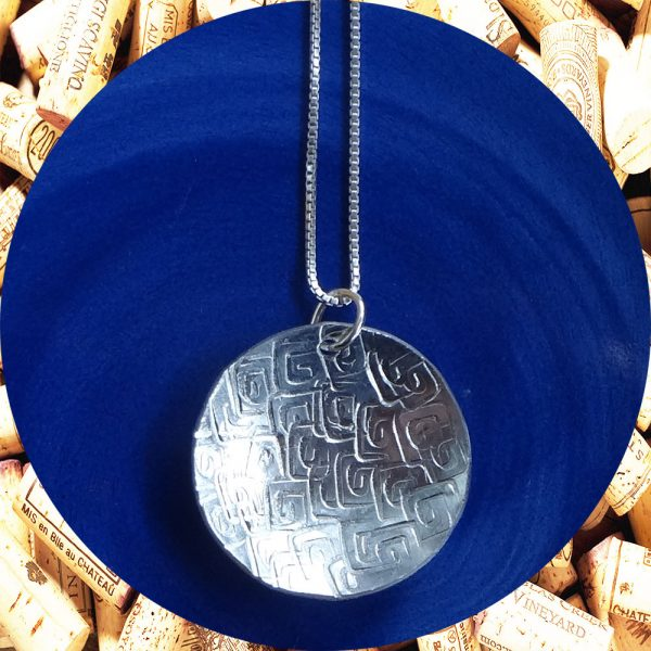 Large Round Square Swirl Aluminum Pendant Necklace by Kimi Designs