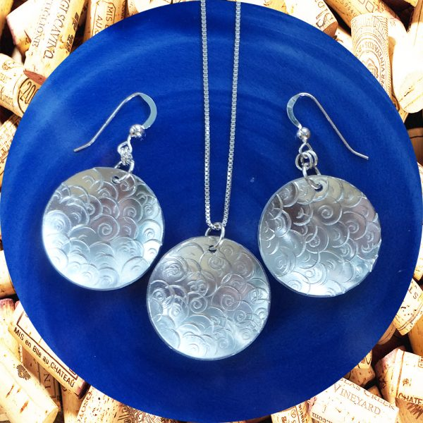 Large Round Swirl Aluminum Earrings and Pendant Set by Kimi Designs