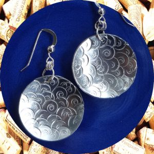 Large Round Swirl Aluminum Earrings by Kimi Designs