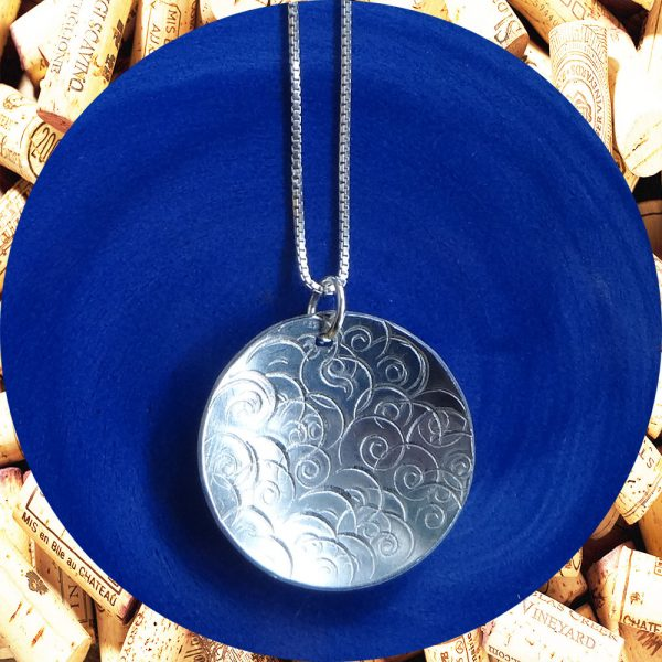 Large Round Swirl Aluminum Pendant Necklace by Kimi Designs