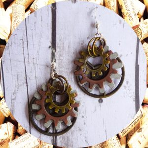 Large Tri-Metal Gearrings Industrial Chic by Kimi Designs - Steampunk