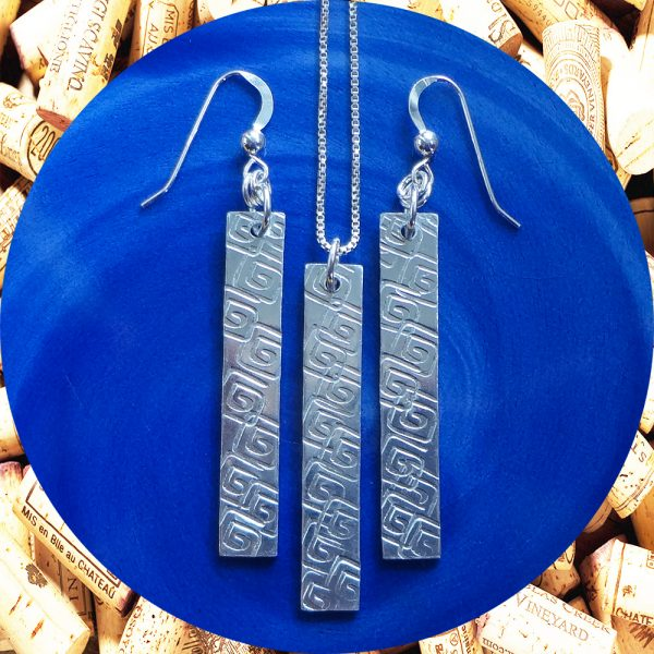 Medium Rectangular Square Swirl Aluminum Earrings and Pendant Set by Kimi Designs
