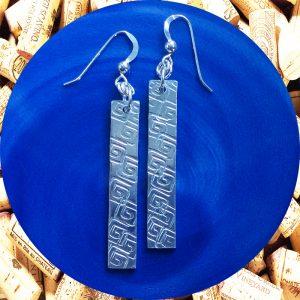 Medium Rectangular Square Swirl Aluminum Earrings by Kimi Designs