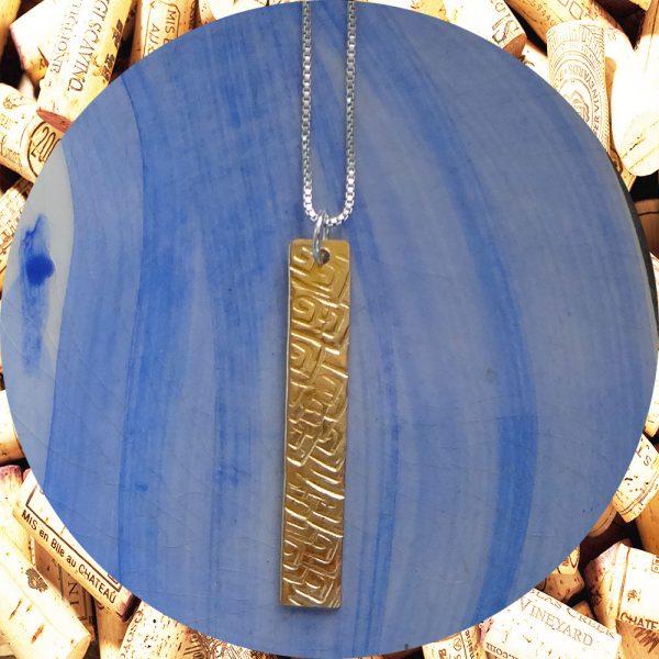 Medium Rectangular Square Swirl Brass Pendant Necklace by Kimi Designs