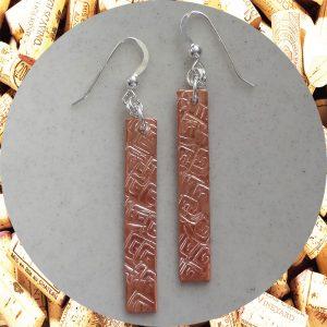 Medium Rectangular Square Swirl Copper Earrings by Kimi Designs