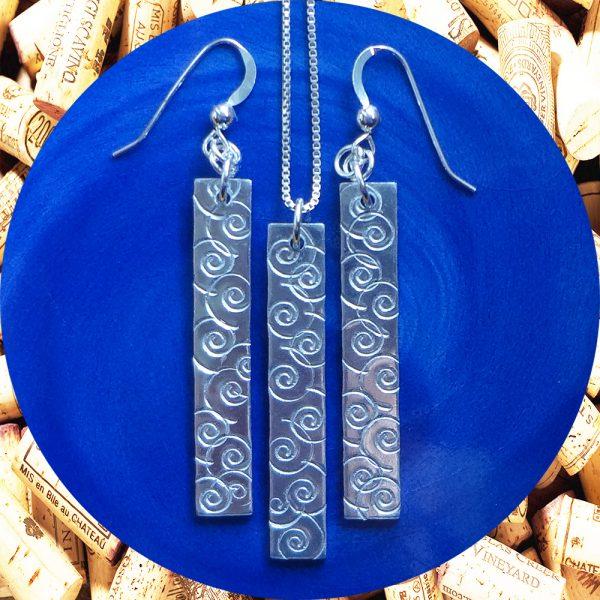 Medium Rectangular Swirl Aluminum Earrings and Pendant Set by Kimi Designs