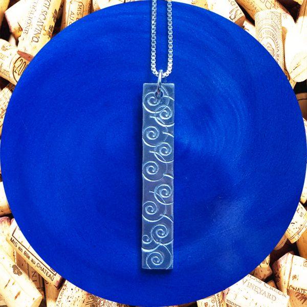 Medium Rectangular Swirl Aluminum Pendant Necklace by Kimi Designs