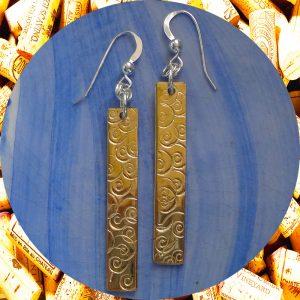 Medium Rectangular Swirl Brass Earrings by Kimi Designs