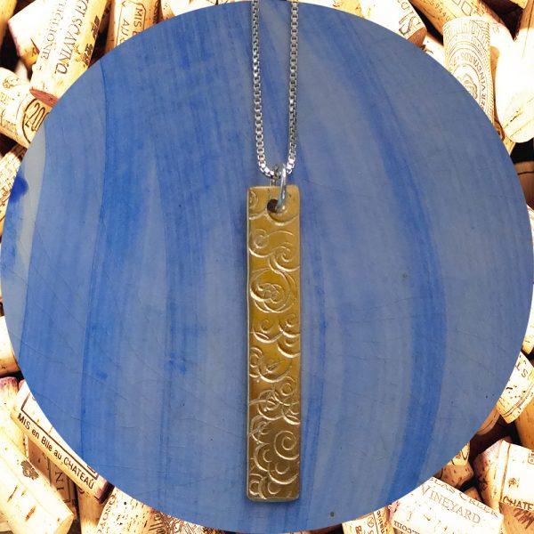 Medium Rectangular Swirl Brass Pendant Necklace by Kimi Designs