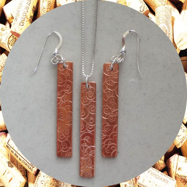 Medium Rectangular Swirl Copper Earrings and Necklace Set by Kimi Designs