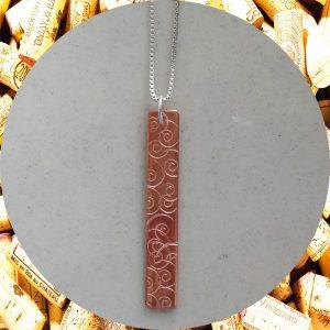 Medium Rectangular Swirl Copper Pendant Necklace by Kimi Designs