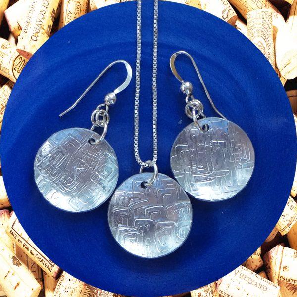 Medium Round Square Swirl Aluminum Earrings and Pendant Set by Kimi Designs