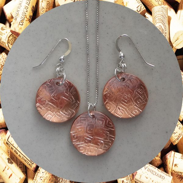 Medium Round Square Swirl Copper Earrings and Necklace Set by Kimi Designs