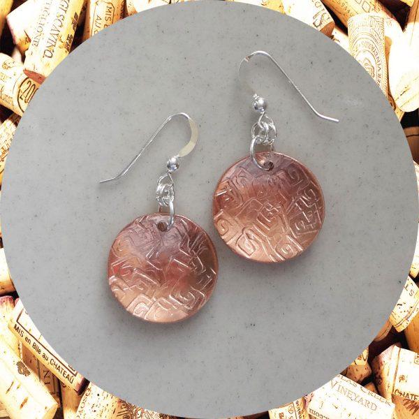 Medium Round Square Swirl Copper Earrings by Kimi Designs