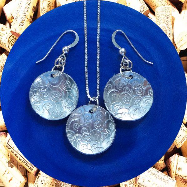 Medium Round Swirl Aluminum Earrings and Pendant Set by Kimi Designs