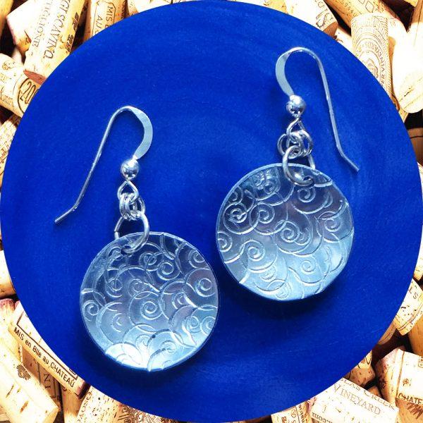 Medium Round Swirl Aluminum Earrings by Kimi Designs