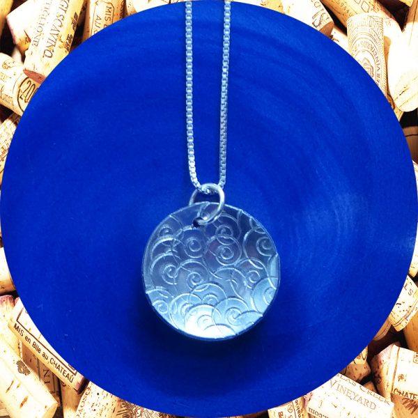 Medium Round Swirl Aluminum Pendant Necklace by Kimi Designs