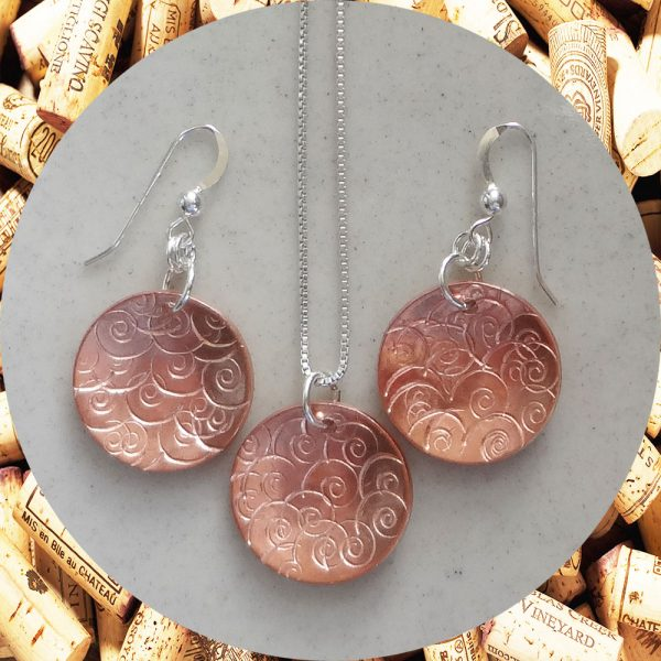 Medium Round Swirl Copper Earrings and Necklace Set by Kimi Designs