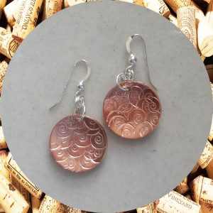 Medium Round Swirl Copper Earrings by Kimi Designs