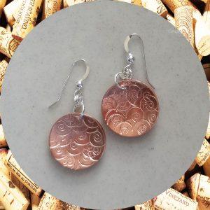 Medium Round Swirl Copper Earrings by Kimi Designs