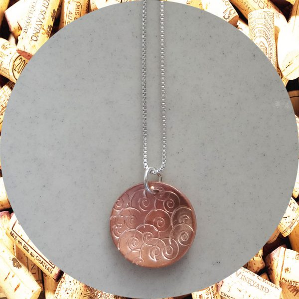 Medium Round Swirl Copper Pendant Necklace by Kimi Designs