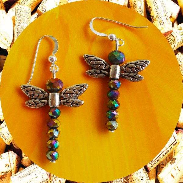 Rainbow Dragonfly Earrings by Kimi Designs