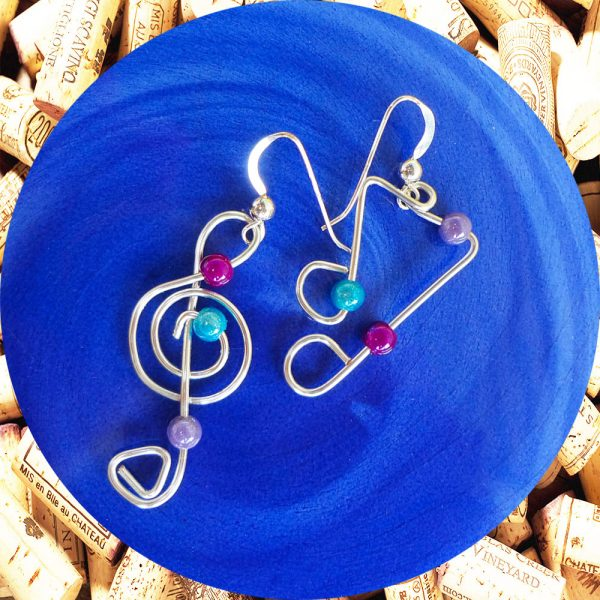 Silver Plated Jazzy Notes Wire Earrings by Kimi Designs