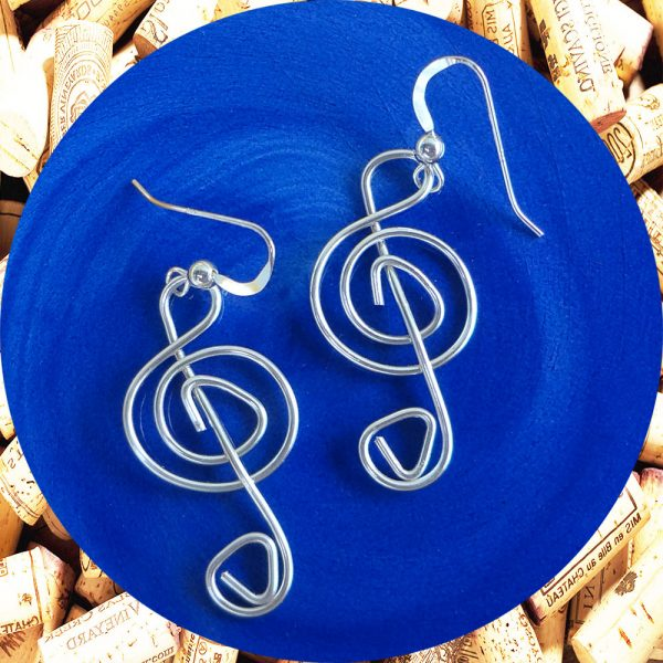 Silver Plated Treble Clef Wire Earrings by Kimi Designs