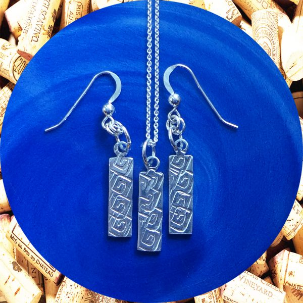 Small Rectangular Square Swirl Aluminum Earrings and Pendant Set by Kimi Designs