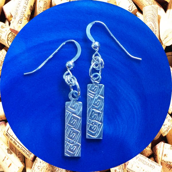 Small Rectangular Square Swirl Aluminum Earrings by Kimi Designs