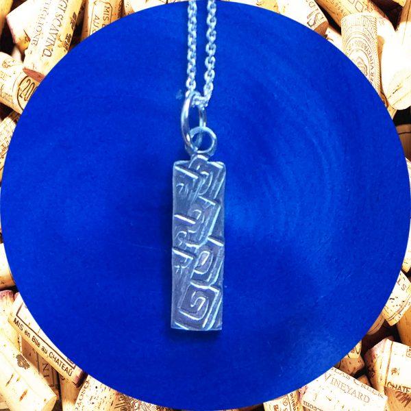 Small Rectangular Square Swirl Aluminum Pendant Necklace by Kimi Designs