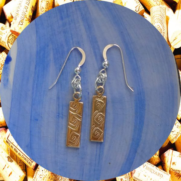 Small Rectangular Square Swirl Brass Earrings by Kimi Designs