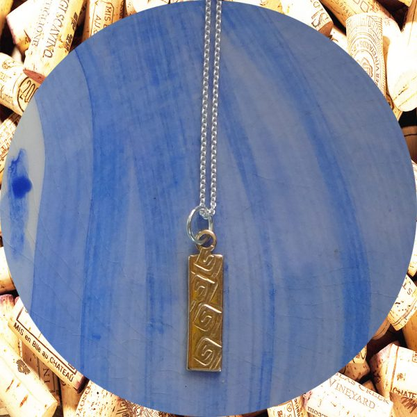 Small Rectangular Square Swirl Brass Pendant Necklace by Kimi Designs